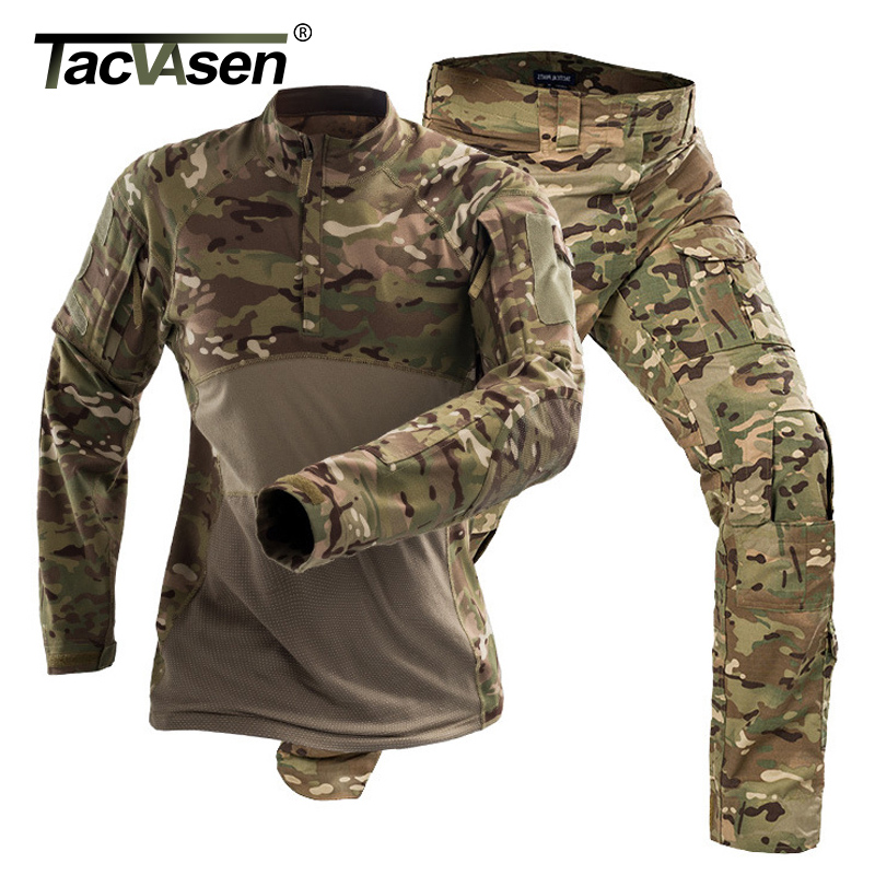 TACVASEN Tactical Uniforms Men Airsoft Military Clothing Camouflage Combat Special Force Suits Paintball Jackets Pants No