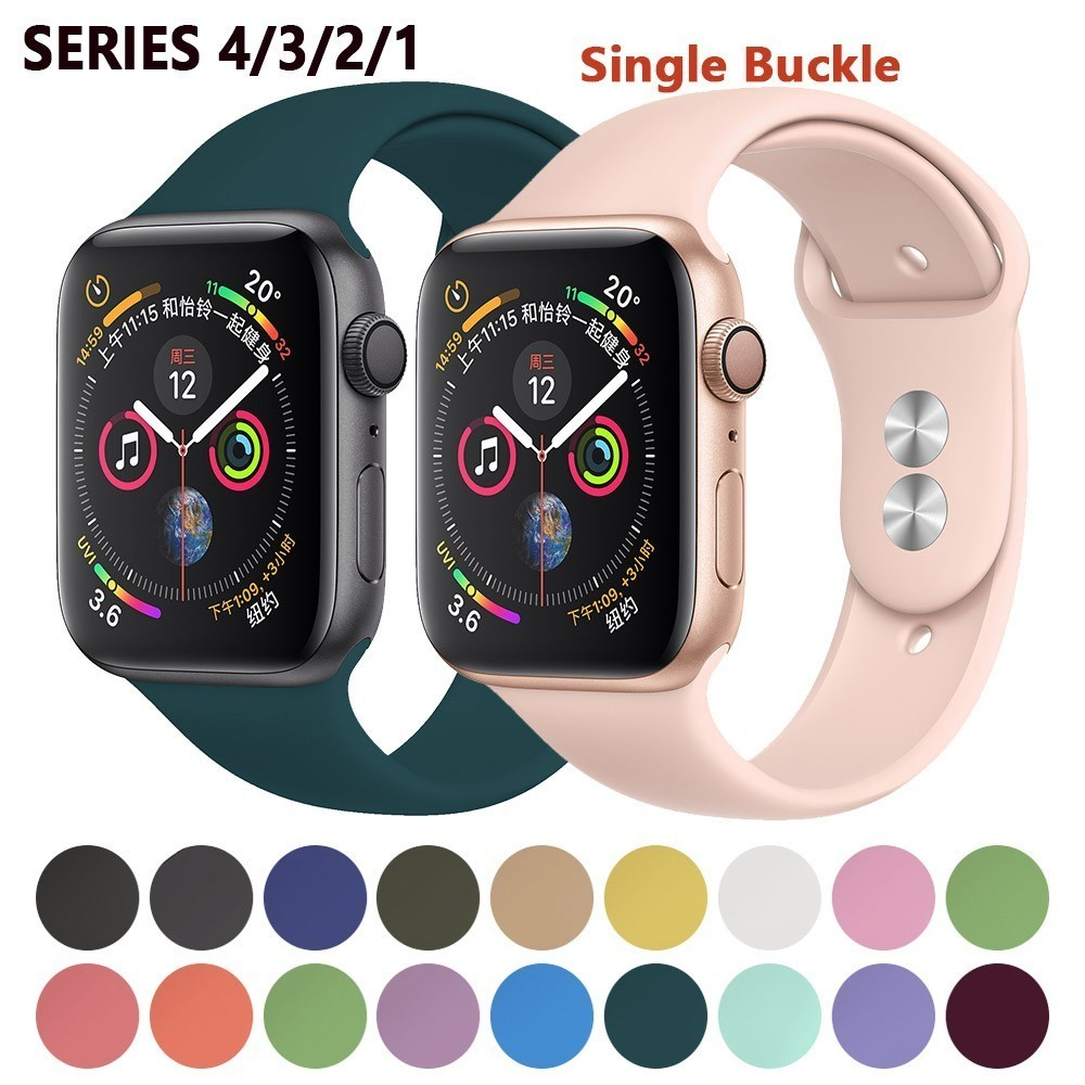 Silicone Strap For Apple Watch Bands 42mm 5 4 3 Iwatch Band 38mm 44mm 40mm Pulseira Correa Bracelet Smart Watch Accessories Loop