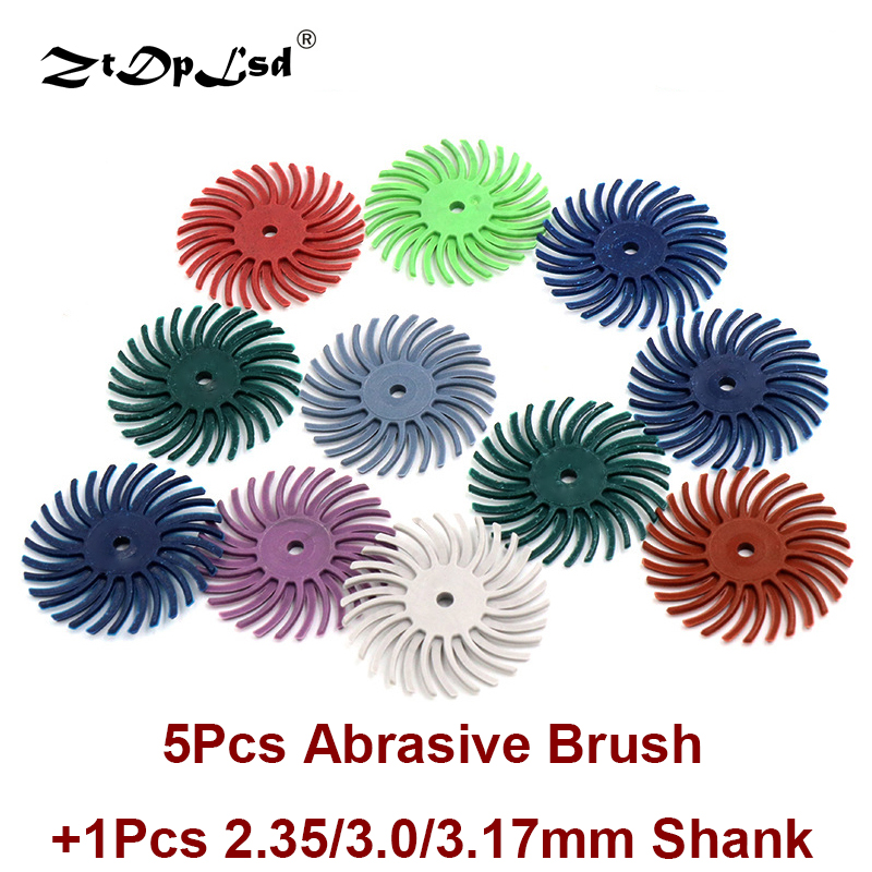 5Pcs Detail Abrasive Brush Grit 80-2500 Power Wood Carving Accessories +1Pc Shank For Dremel Rotary Tool Mixed Coarse Disc Suit