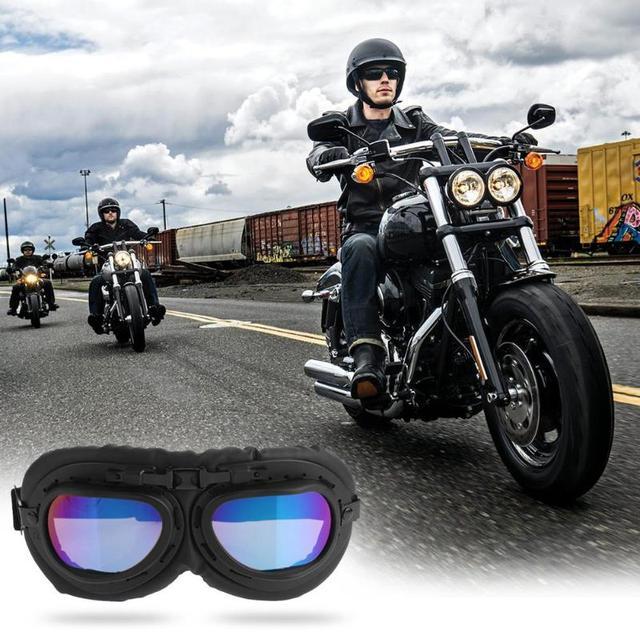 VODOOL Motorcycle Glasses UV Protective Sandproof Retro Jet Aviator Pilot Goggles Motor Bike Reflective UV Protection Goggle