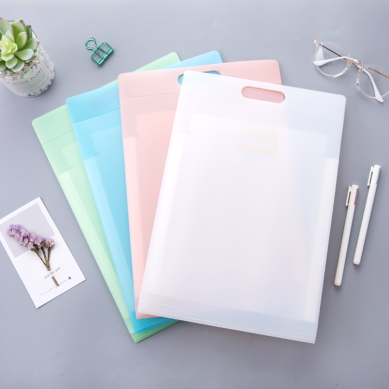 1PCS Korean Vertical File Folder Plastic Transparent Vertical A4 Book Clip Multilayer Test Paper Bag Filing Products