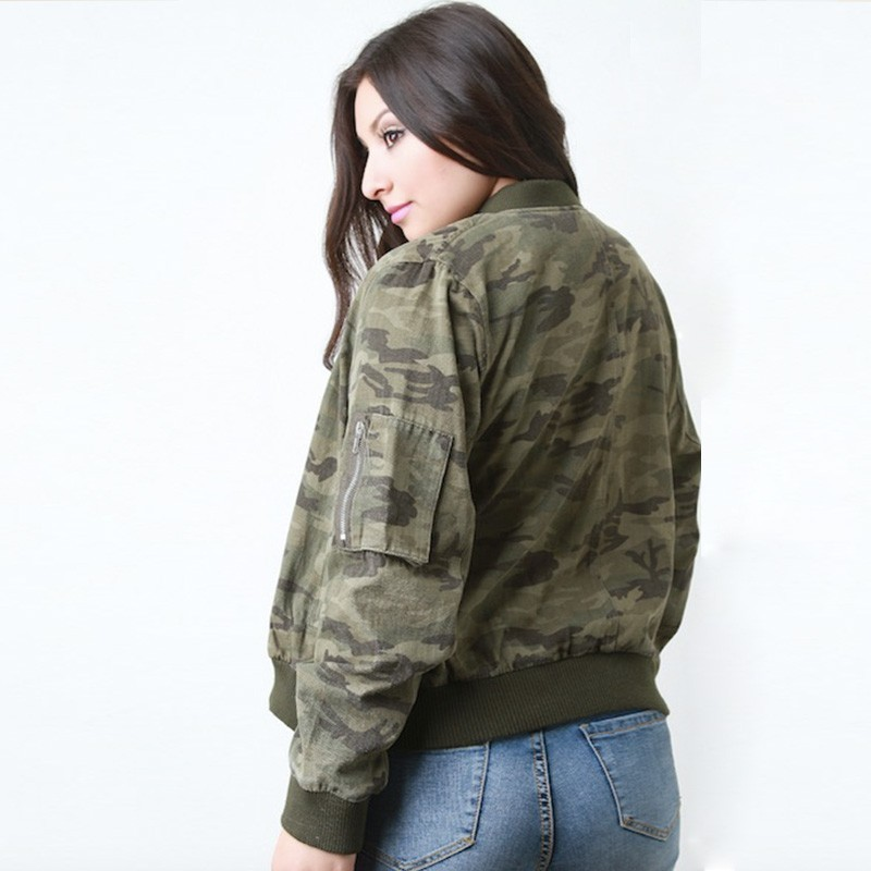 HDY HAODUOYI Plus Size 2019 Camouflage Printed Jackets Zipper Long Sleeve Bomber Jackets Female Clothing Casual Lady Coats