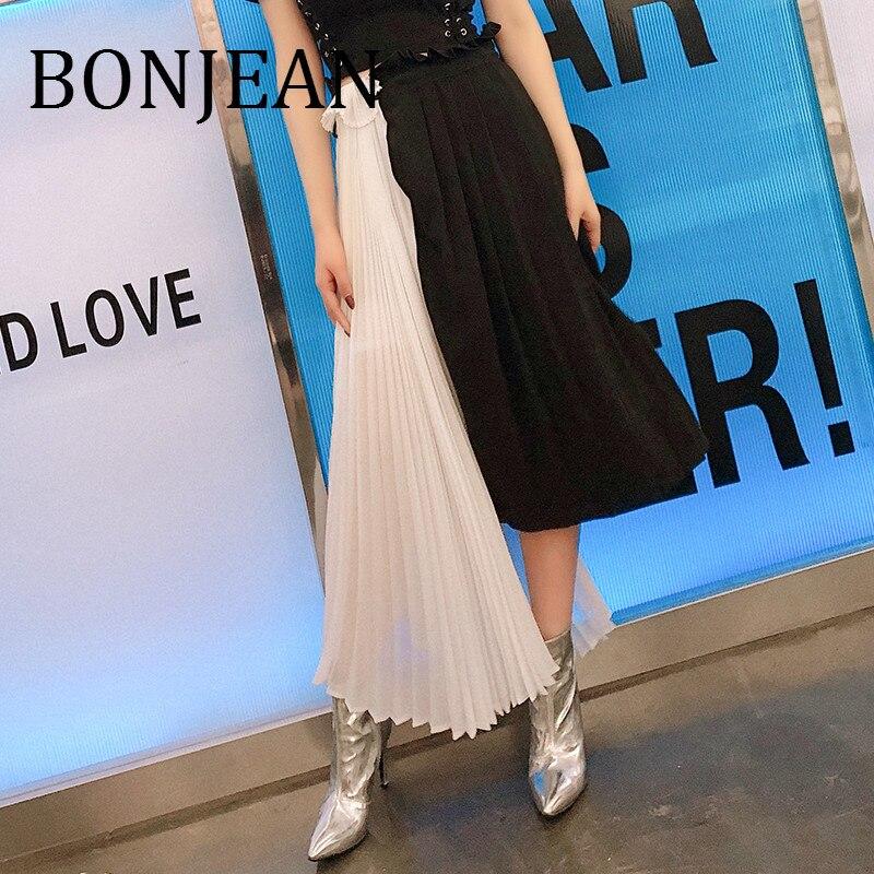 BONJEAN Irregular Skirt for Women 2019 Summer Bottoms Lace Up Asymmetric Pleated Skirts Patchwork High Waist Skirts BJ1012
