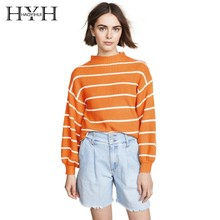 HYH HAOYIHUI Youth Vitality Yellow Tops Stripe Half Collar Bishop Sleeve Easy Sweater Women  New Arrival Streetwear bishop sleeve ribbed sweatshirt