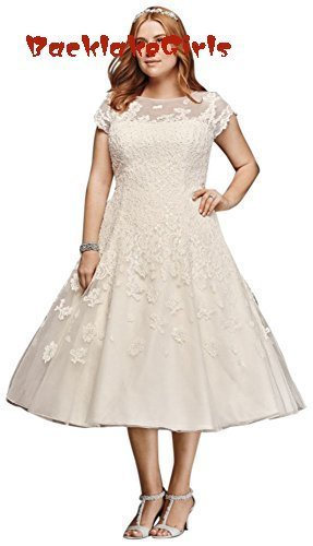 9d475cba2b Plus Size Oleg Cassini Cap Sleeve Tea Length Wedding Dress Style 2019