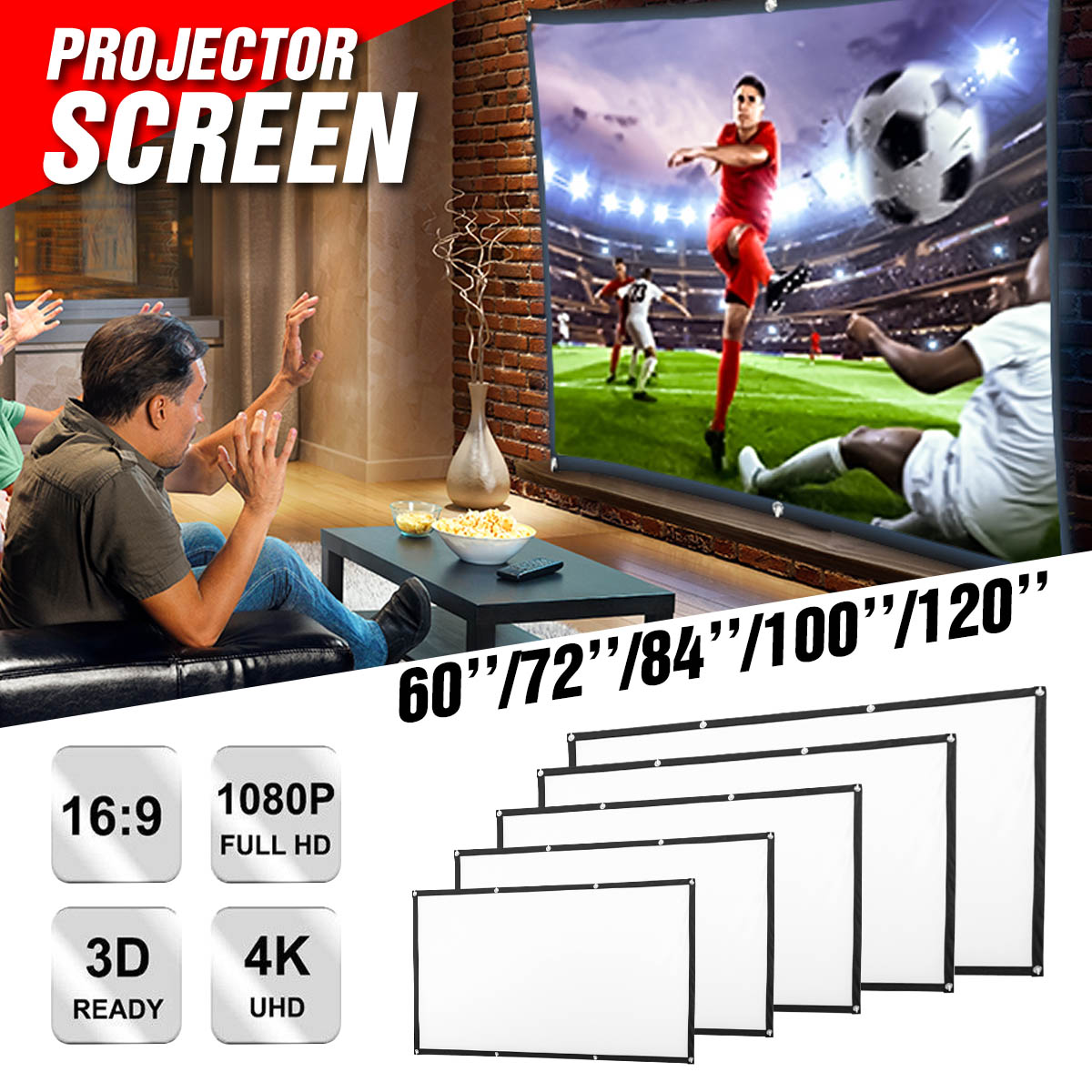 Projector-Screen Cinema 120inch Canvas Theater Portable Home 3D 100 84 HD 60-72 Wall-Mounted