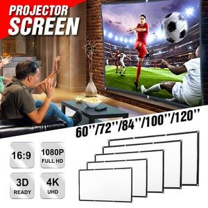 60 72 84 100 120 Polegada tela do projetor dobrável portátil montado na parede cinema em casa cinema 3d tela de projeção hd