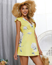 цена на Floral Print Summer Dress Women Sexy V-neck Short Sleeve Boho Style A-line Party Dresses Ladies Mini Bench Vestidos 2019