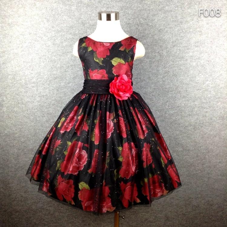 Značka Girl Party Dress Černá Tutu květina Tisk BIg Bow letní šaty pro dívky 4-16 Hot