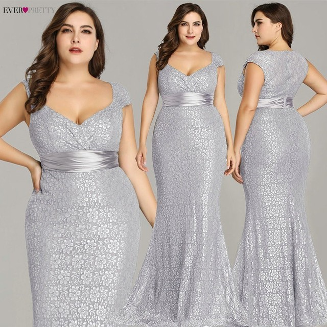 Plus Size Evening Dresses 2019 Ever Pretty EP08798CF Elegant Mermaid Lace Sleeveless Party Gowns Vintage Sexy  Robe De Soiree 1