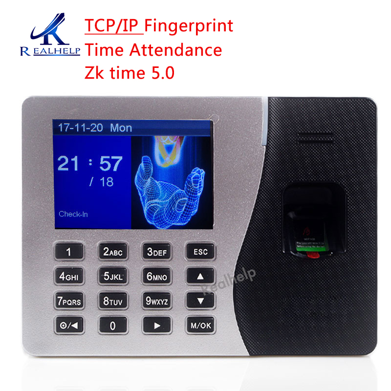 For 2000Users Fingerprint Time Attendance TCP IP USB-host ZKeco Time 5.0 Software 2.8 Color Screen Attendance Machine Solary