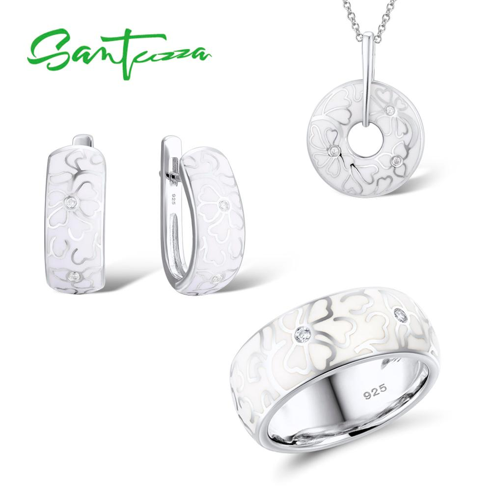 SANTUZZA Jewelry Set For Women Genuine 925 Sterling Silver HANDMADE Enamel White Flower CZ Ring Earrings