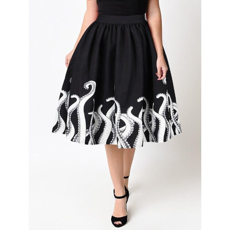 Gothique Vintage élégant noir été OL dames femmes jupes plissées Aline Goth imprimer Streetwear plage femme mode jupe Midi