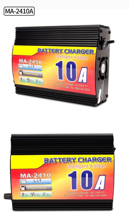 24v 10a carregador de bateria acidificada ao chumbo com indicador atual da carga, carregador de bateria inteligente do caminhão de 4 fases - 2