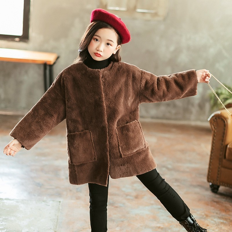 Teenage Girls Winter Coats With Fur 2018 New Long Little Children's Faux Fur Outwear Long Sleeve Autumn Coat For Girls Clothing girls faux fur coats little girl pink jacket with fur o neck children s faux fox fur clothes long sleeve soft fur winter coats