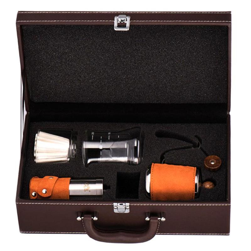 Hand Coffee Pot Coffee Grinder Set Cappuccino Coffee Accessories Gift Box