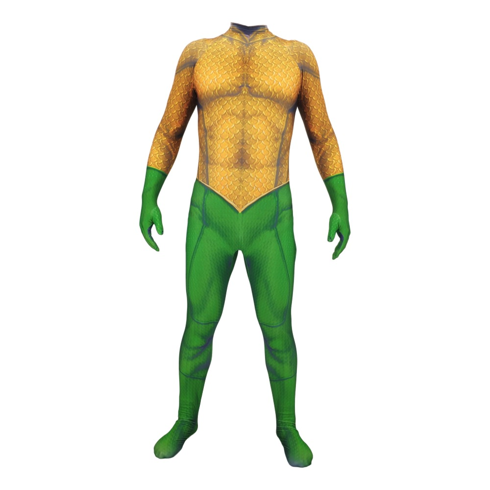 add837b4d110 Adult Kids 3D Print Aquaman Costume Jumpsuit Aquaman Arthur Curry Skin  Lycra Spandex Cosplay Zentai Suit Halloween Party