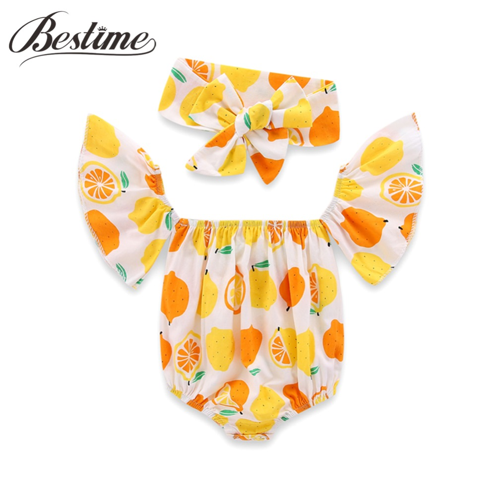 Baby Rompers Floral Ruffles Off Shoulder Summer Baby Girls Clothing