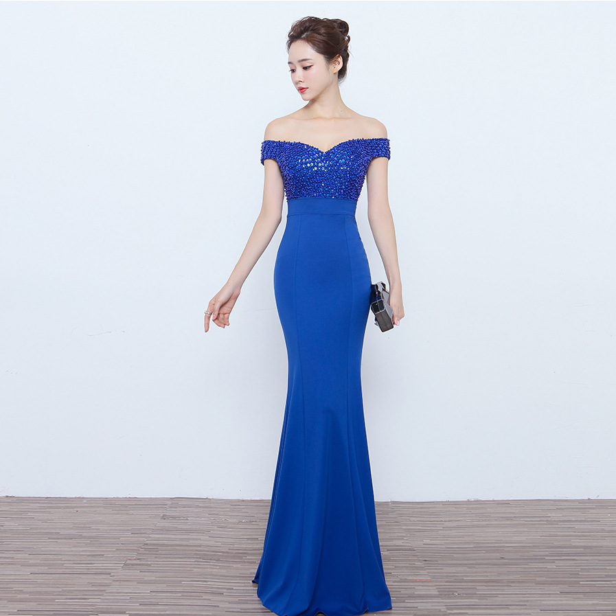 Popodion Off the Shoulder Evening Dress Long Evening Gown Party Dress Beading N1025
