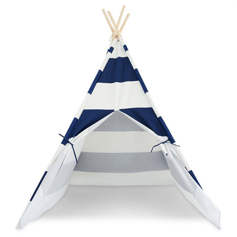 Portable Kids Playhouse Sleeping Dome Teepee Play Tent Gray Strip Child Game House Kids Secret Space Perfect Gift For ChildrenPortable Kids Playhouse Sleeping Dome Teepee Play Tent Gray Strip Child Game House Kids Secret Space Perfect Gift For Children