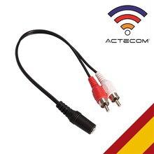 ACTECOM Cable Audio Jack 3,5mm Hembra a 2 RCA Macho Adaptador en Y Divisor Splitter para Sistema Estéreo para PC Amplificador