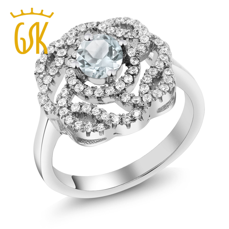 1.48 Ct Round Sky Blue Aquamarine 925 Sterling Silver Ring