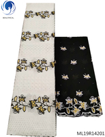 BEAUTIFICAL swiss lace fabrics african swiss voile laces dress with rhienstoens 5 yards+ 2yards wrap laces dress ML19R142