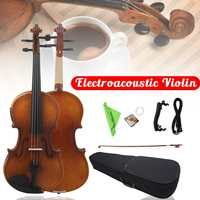 4/4 Full Size Electro Acoustic Violin Astonvilla Wooden Fiddle With Case Bow Set Maple Solid Wood Perfect for Beginners Players