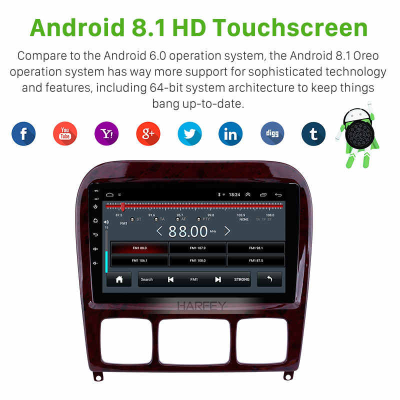 """9/"""" Android 8.1 Car Multimedia Player GPS FM Bluetooth For Mercedes Benz S Class"""