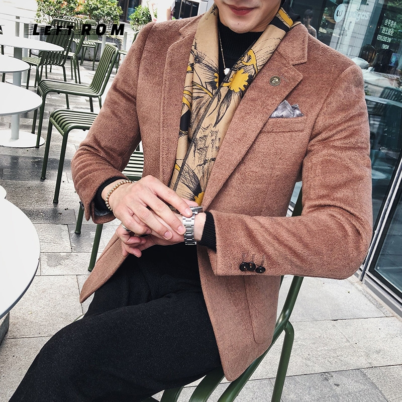 Wool Blazer Coat For Men 2018 Autumn Winter Luxury 5 Colors Wind Red Coffee Smoking Blazer Men Black Slim Fit Terno (Size S-3XL)