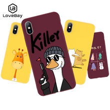Lovebay For iPhone 6 6s 7 8 Plus X XR XS Max Phone Case Cute Cartoon Killer Giraffe Soft TPU Queen Candy Paris Girl Cover