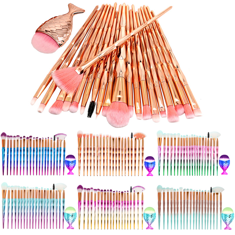 NEW 21pcs Unicorn Professional Makeup Brushes For Makeup Brush Set Powder Foundation Blush Eyeshadow Eyebrow Kabuki Brush Tool silver professional foundation brush fish scale makeup brushes pro foundation powder blush contour brush fishtail cosmetic tool