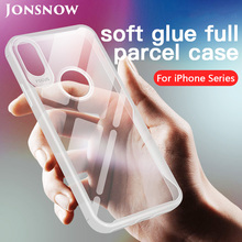 JONSNOW Soft Case for iPhone 7 8 Plus 6S 6P X XR XS Max Transparent Anti-knock Protect Cases Glue All-inclusive Back Cover