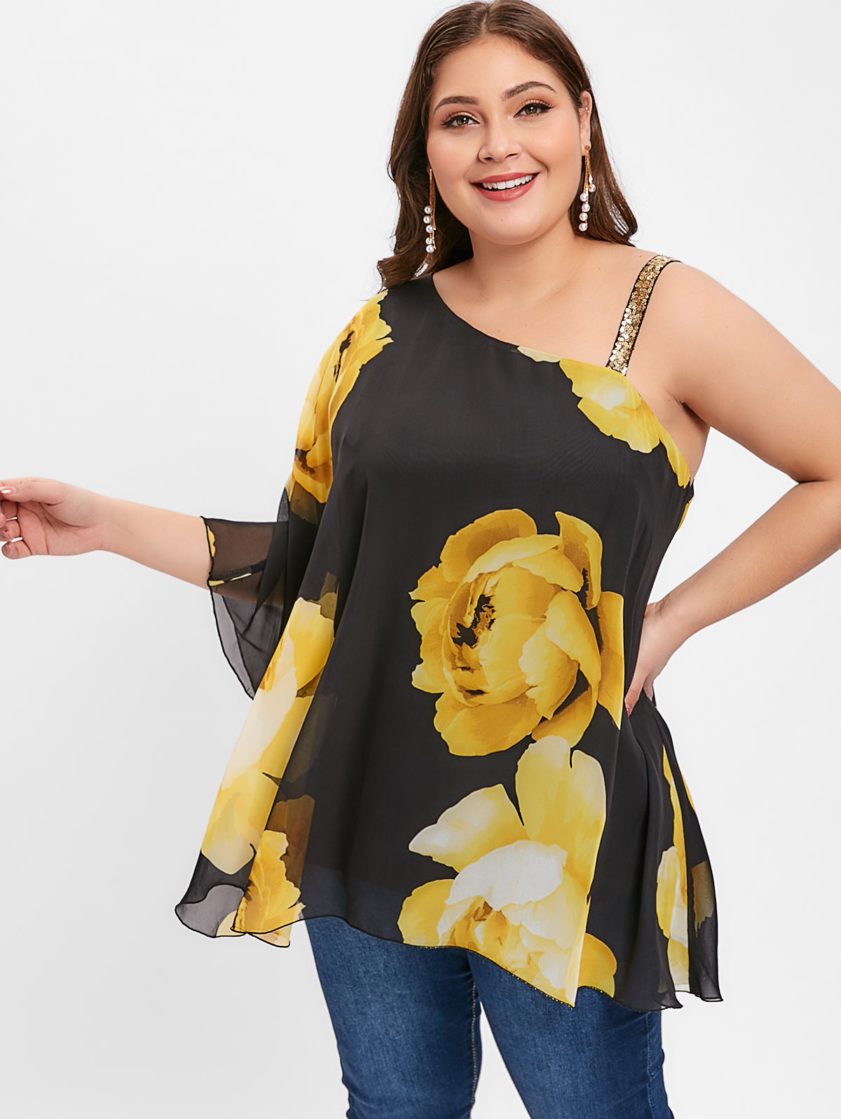 e18d59737a47 Detail Feedback Questions about Wipalo Plus Size 5XL Floral Print Blouse  Shirts Women Skew Neck Sequin Embellished One Shoulder Tops Casual Summer  Blouse ...