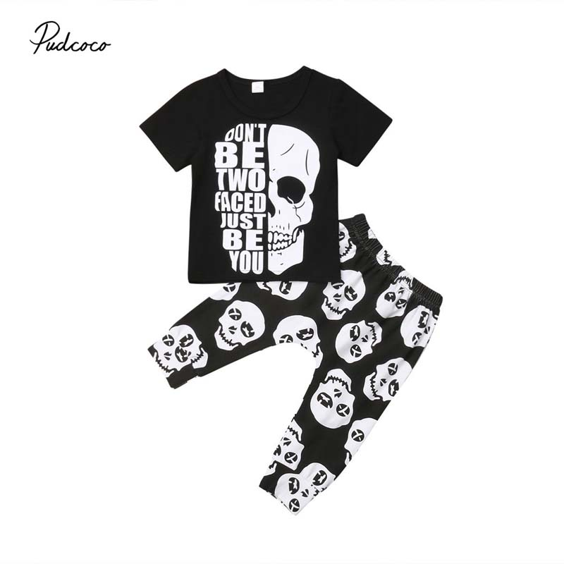 2019 Brand 2pcs Kids Baby Boys Skull Clothes T-shirt Tops Long Pants Trousers Outfits Set Summer Cool Cotton Clothing