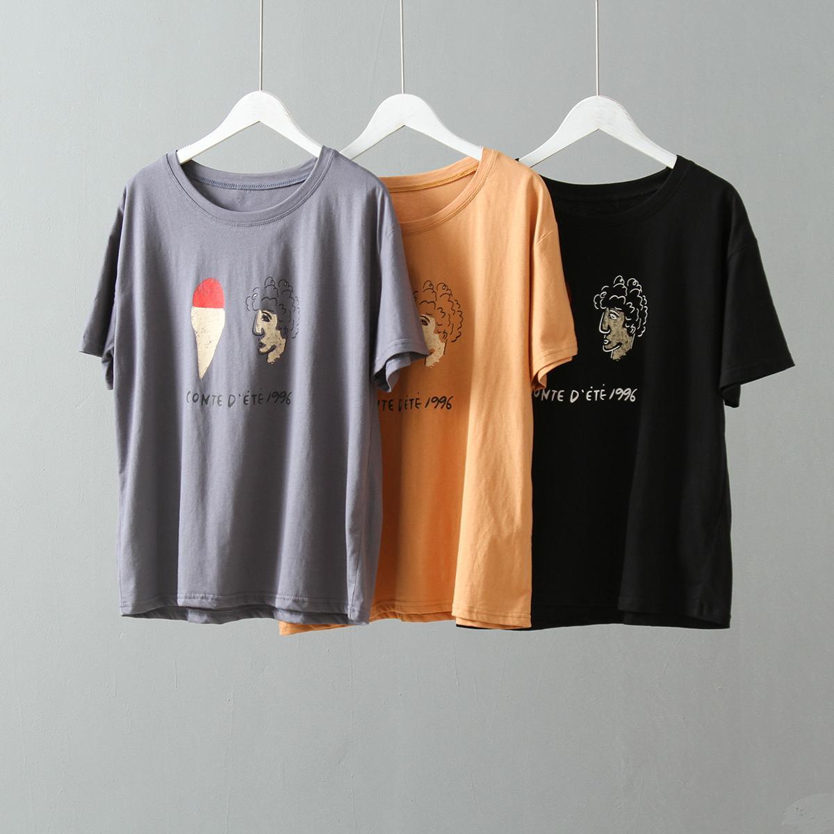Qiukichonson Printed Women Tshirt 2019 Korean Fashion Summer Top O-Neck Short Sleeve Casual Tee Shirt Femme