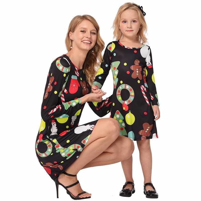 2168f4cce6def ... Ruiyige 2018 Christmas Dress Mother Daughter Matching Clothes Winter  Autumn Women Girls Party Dresses Family Christmas ...