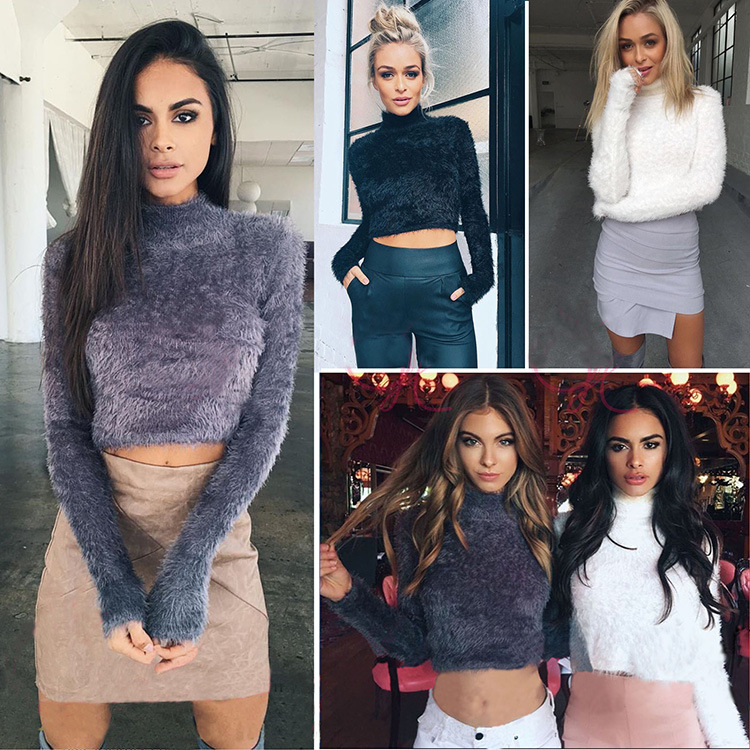 2018 Autumn Winter Women Wool Cropped Jumpers Fluffy Mohair Sweater Mujer Pullover Long Sleeve Sweaters Crop Top Black Purple