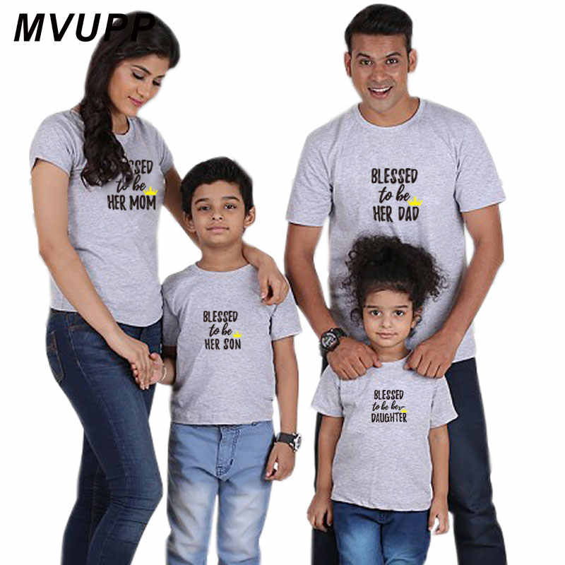 6ce84233 ... mommy and me t shirt Blessed dad mom daughter son family look matching  outfits clothes daddy ...