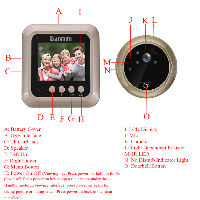 Camera Pir Night Vision Wireless Doorbell Intercom Security