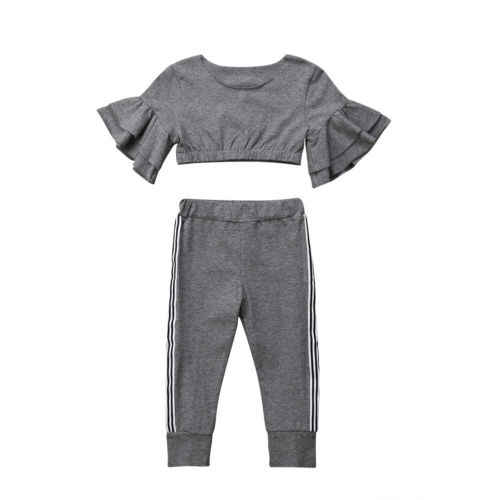 ea5b751fc Toddler Kids Baby Girl Slim Fitness Workout Clothes Suit 2Pcs Girls Ruffles  Blouse Tops Striped Pants