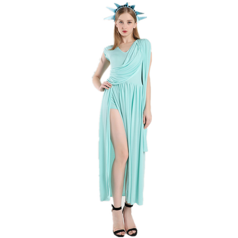 Women Adult Statue Of Liberty Cosplay Costumes Halloween Female Arab Dress Greece Goddess Clothing