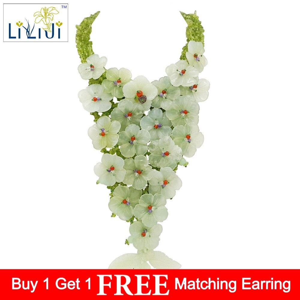 LiiJi Unique nouveau Jades fleurs, péridots avec Jades fermoir à bascule à la main tricot collier mode femmes bijoux