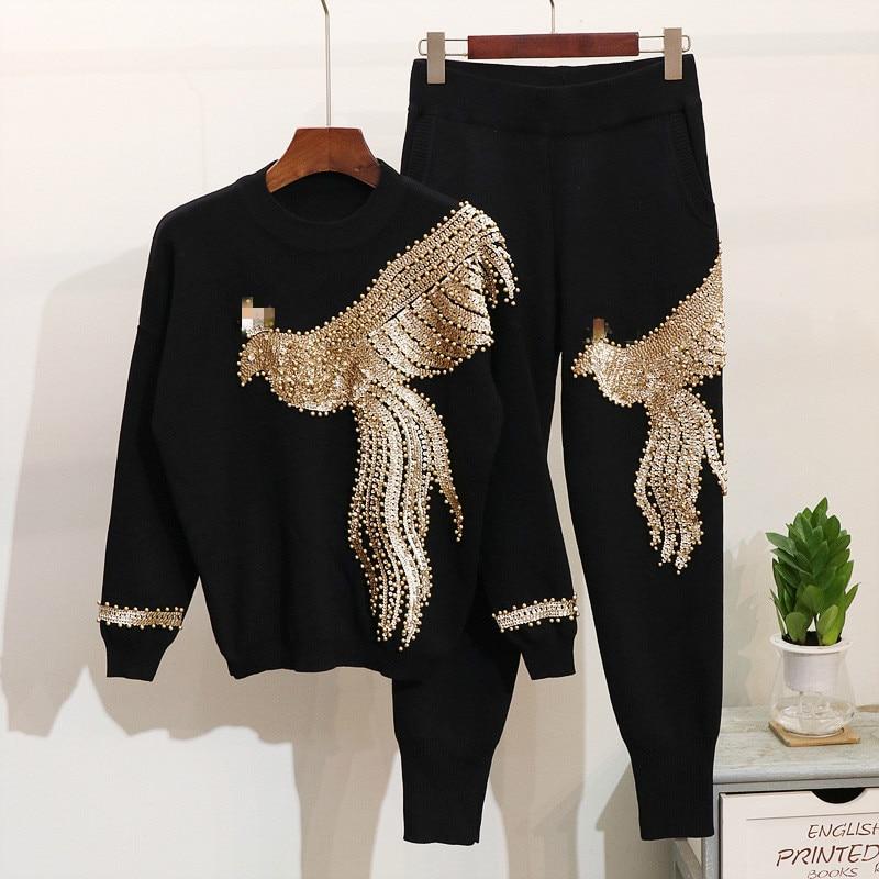 EWQ 2019 Autumn Fashion Long Sleeve Round Collar Sequined Beaded Phoenix T shirt Elastic Waist