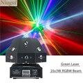 16*3 Вт RGBW Светодиодная лампа-гриб + зеленый лазер, светодиодный луч эффект движущийся головной свет, светодиодный луч лазер 2в1 гриб сценическ...