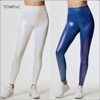 Summer Sexy Women Stretch Shiny Leggings Workout Fluorescent High Waist Skinny Pants Jogger Sport Glossy Elastic Slim Trousers