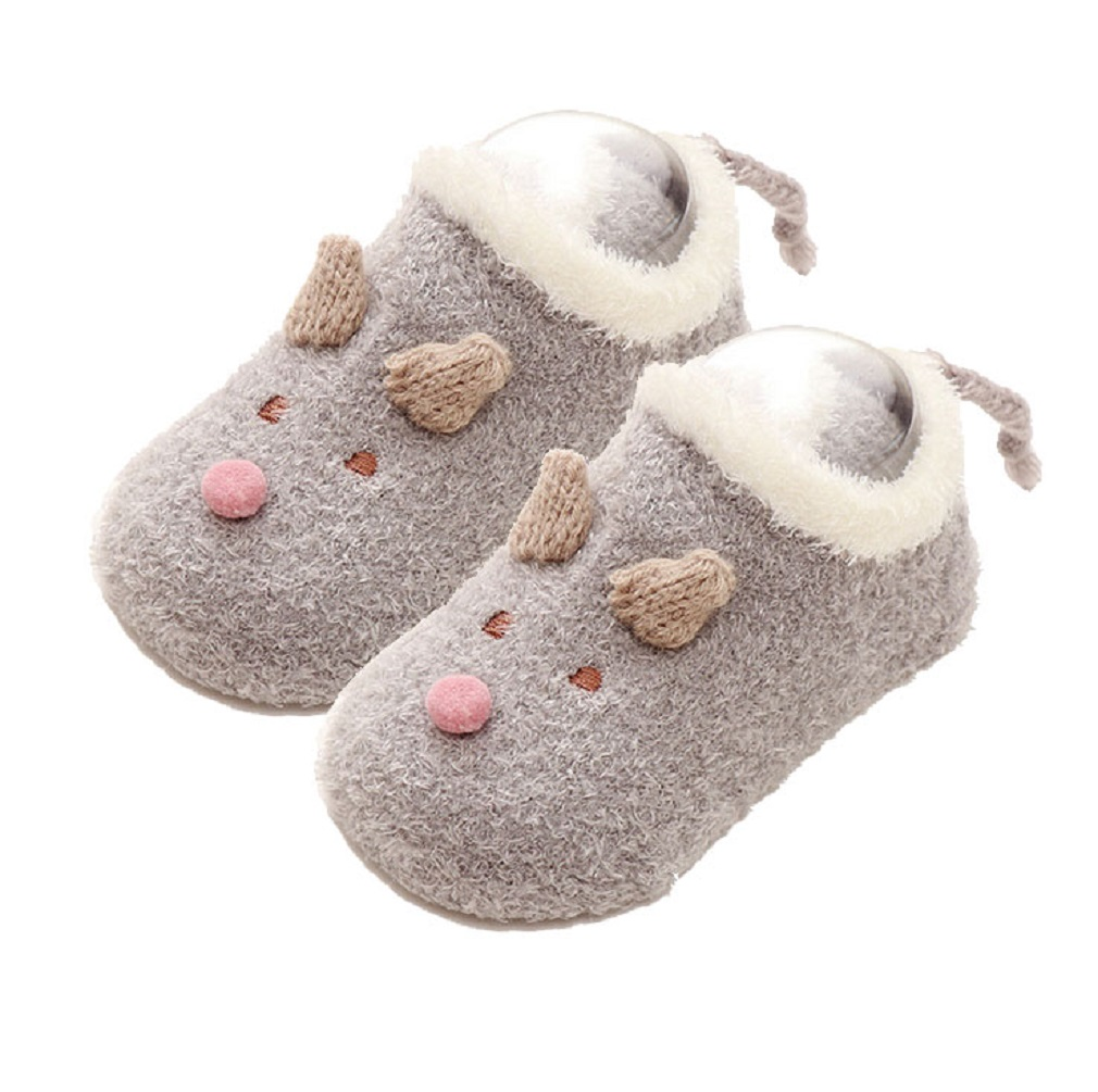 New Lovely Toddler Kids Baby Girls Boys Anti-Slip Fleece Socks Newborn Cartoon Winter Warm Shoes Slipper Sock
