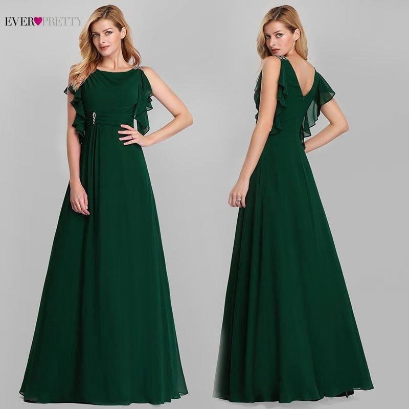 Elegant Evening Dresses Long Ever Pretty O-Neck A-Line Sleeveless Ruffles Dark Green Women Vintage Chiffon Party Dresses 2020