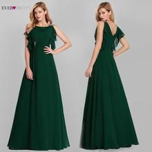Elegant Evening Dresses Long Ever Pretty O-Neck A-Line Sleeveless Ruffles Dark Green Women Vintage Chiffon Party 2019