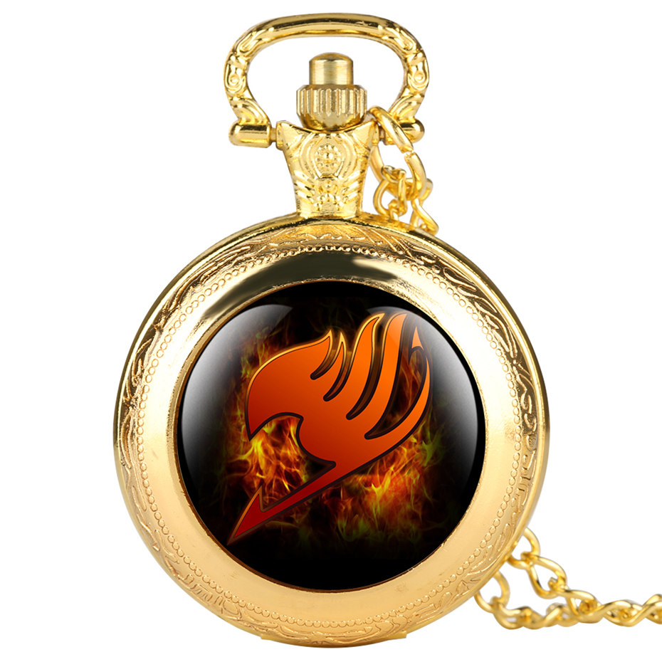 Fairy Tail Pattern Quartz Pocket Watch Cool Fob Watches For Women Men Best Gifts For Children Kids Boys 2019 New Clock